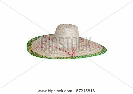 Straw hat isolated on white.Side veiw