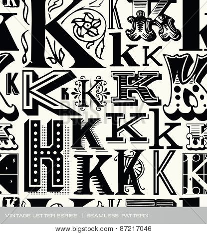 Seamless vintage pattern of the letter K