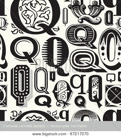 Seamless vintage pattern of the letter Q