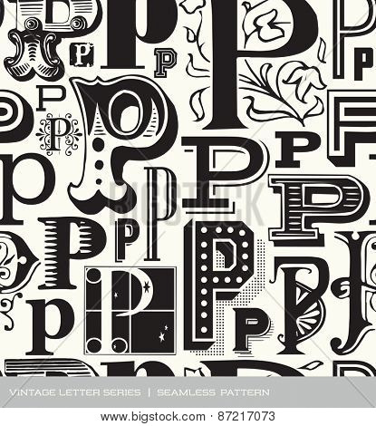 Seamless vintage pattern of the letter in P