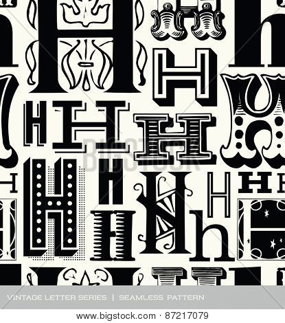 Seamless vintage pattern of the letter H