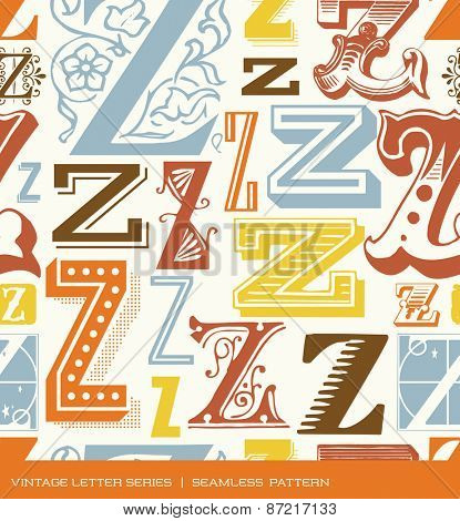 Seamless vintage pattern of the letter Z in retro colors