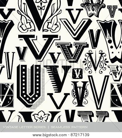 Seamless vintage pattern of the letter V