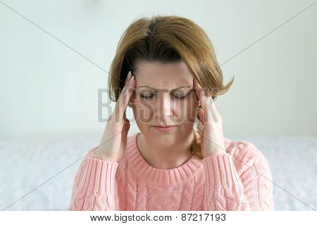 Woman Holding Hands On  Head, Depression, Pain, Migraine