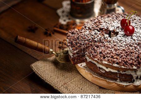 Homemade chocolate pie