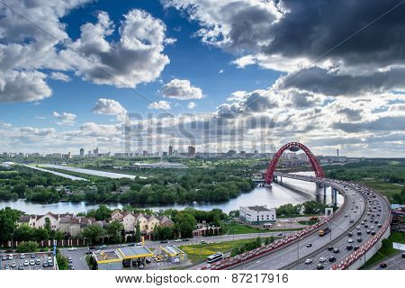 Moskva river, panorama of city and Jivopisny Bridge in Moscow, Russia at cloudy day. I have only one version of the photo with sharpening