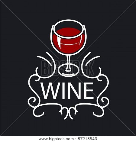 Vector Icon Glasses Of Wine On A Black Background