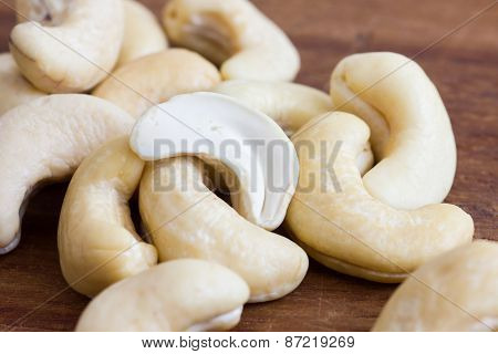 Cashew nuts, whole and split.