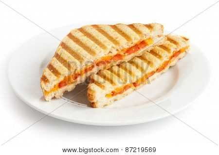Toasted cheese and tomato sandwich.
