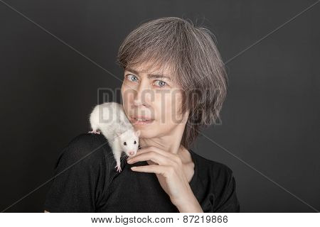 Woman With Pet Rat