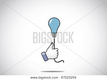 Blue Idea Solution Light Bulb With Young Human Victory Winning Thumbs Up Hand Gesture - The Winning