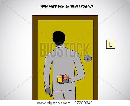 Professionally Dressed Man Holding A Surprise Gift At The Back Waiting In Front Of A House Door To B