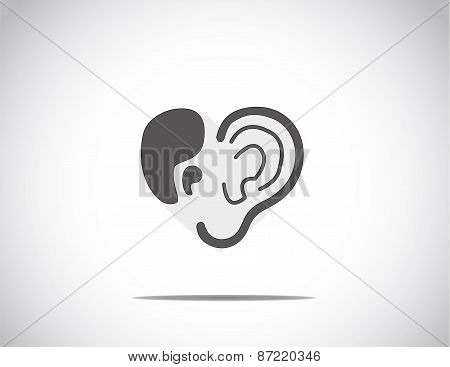 Abstract Concept Illustration Of Hearing Aid Illustration With Ear And Quotes Arranged In The Shape