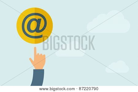 A hand pointing to Email icon.  A contemporary style with pastel palette, light blue cloudy sky background. Vector flat design illustration. Horizontal layout with text space on right part.