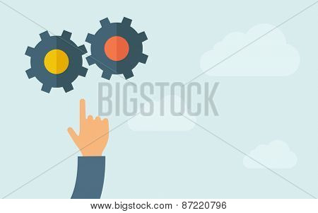 A hand pointing to gear icon. A contemporary style with pastel palette, light blue cloudy sky background. Vector flat design illustration. Horizontal layout with text space on right part.