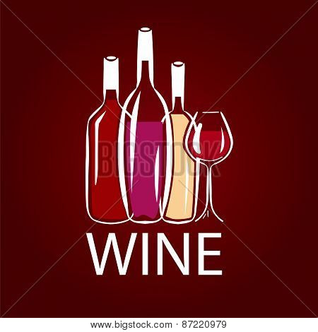Vector Icon Wine Bottle And Wine Glass