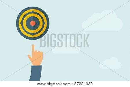A hand, pointing the target pad icon. A contemporary style with pastel palette, light blue cloudy sky background. Vector flat design illustration. Horizontal layout with text space on right part.