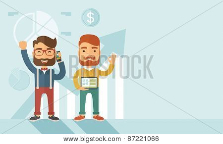Two hipster Caucasian employees with beard standing happy for the certicate award they received. Winner, happy concept.A contemporary style with pastel palette soft blue tinted background. Vector flat