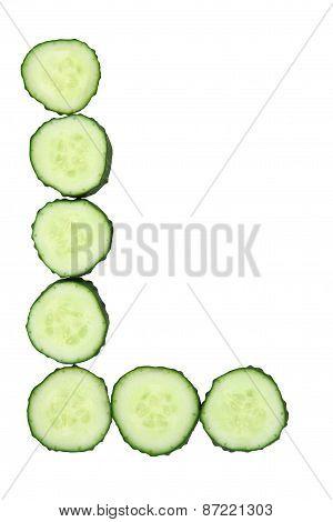 Vegetable Alphabet Of Chopped Cucumber  - Letter L