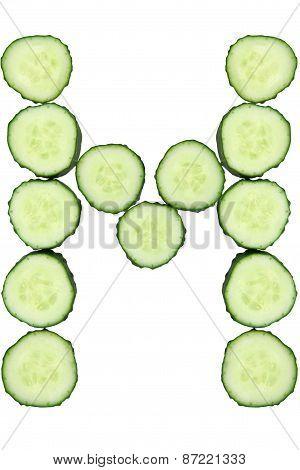 Vegetable Alphabet Of Chopped Cucumber  - Letter M