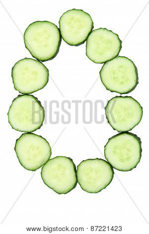 Vegetable Alphabet Of Chopped Cucumber  - Letter O