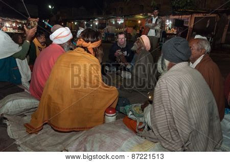 Group Of Sadhus Play In Local Musical Instruments In Orchha