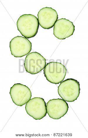 Vegetable Alphabet Of Chopped Cucumber  - Letter S