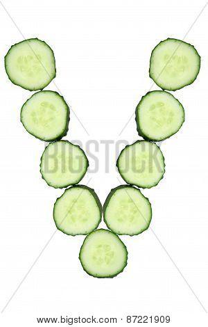 Vegetable Alphabet Of Chopped Cucumber  - Letter V