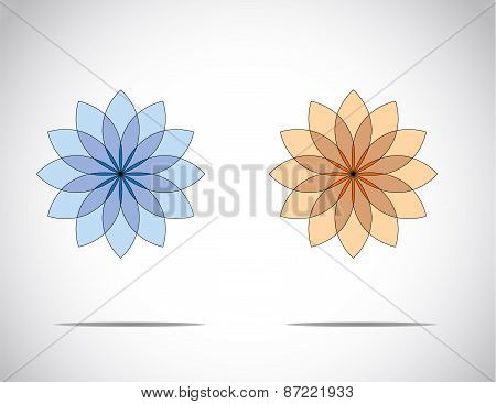 Unique Beautiful Blue & Red Flowers With Bright White Background - Concept Illustration Art
