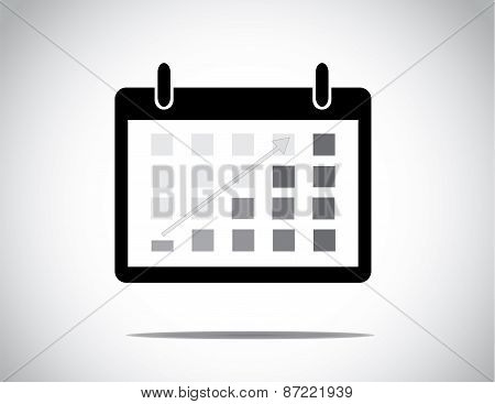 Black Calendar With Everyday Blocks Colored To Show Progress Made With Up Arrow : Business Profit Gr