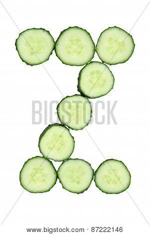 Vegetable Alphabet Of Chopped Cucumber  - Letter Z