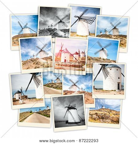 collage windmills of don quixote in cervantes consuegra castile-la mancha  spain  europe
