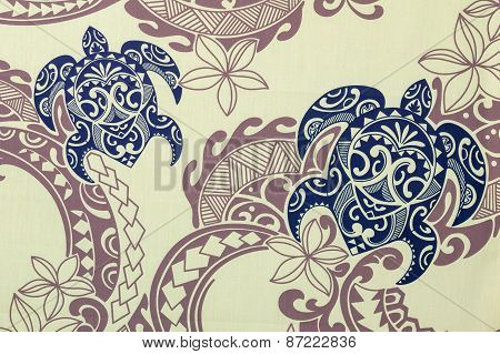 Blue turtles on creme and brown background.