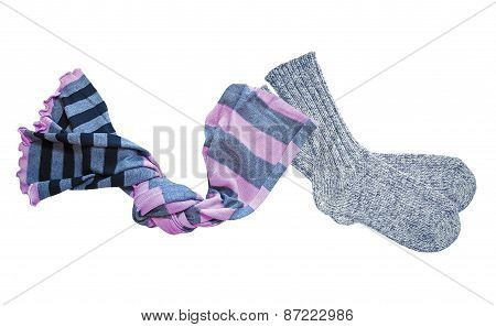 Grey Wool Socks And Color Neckerchief Isolated On White