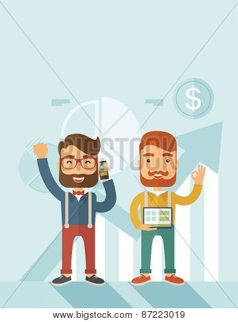 Two hipster Caucasian employees with beard standing happy for the certicate award they received. Winner, happy concept. A contemporary style with pastel palette soft blue tinted background. Vector