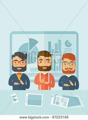 Three hipster Caucasian business men with beard happy clapping their hands for the success presentation with tablet cellphone and papers infront of them. Winner concept. A contemporary style with