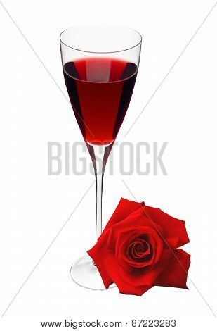 Glass With Wine And Red Rose Isolated On White