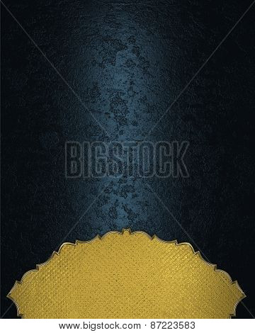 Gold Element For Design. Template For Design. Abstract Blue Background With A Gold Plate