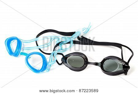 Blue And Black Goggles For Swimming