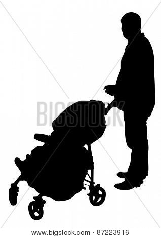 Silhouette father and children on white background