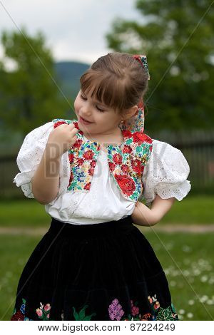 Small Girl In Traditional Dress On The Meadow