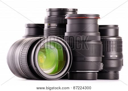 Composition With Photo Zoom Lenses Isolated On White