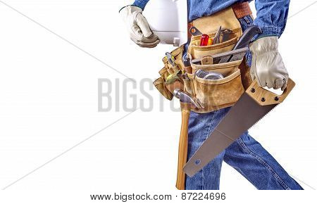 Building Contractor Carpenter Man Walking With Tools