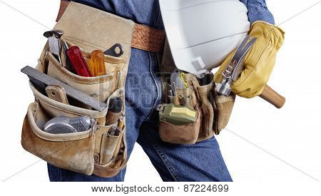 Building Contractor Carpenter Man With Tools On White