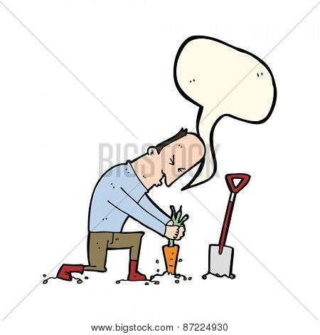 cartoon man digging vegetables