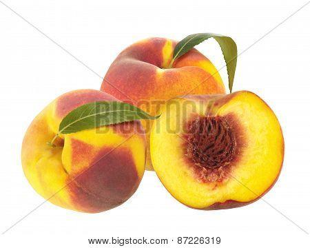 Fresh Peaches Isolated On White