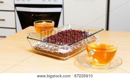Chokolate Pie With Cherry On The Kitchen