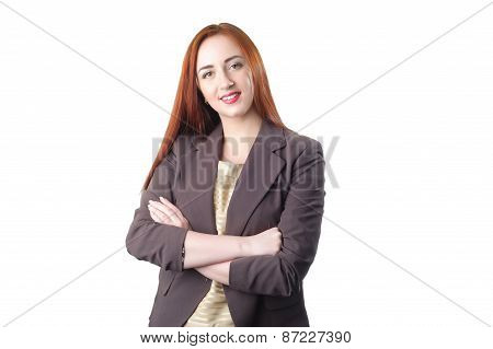 Successful Young Redhead Business Woman With Hands Folded Smiling Over White Background