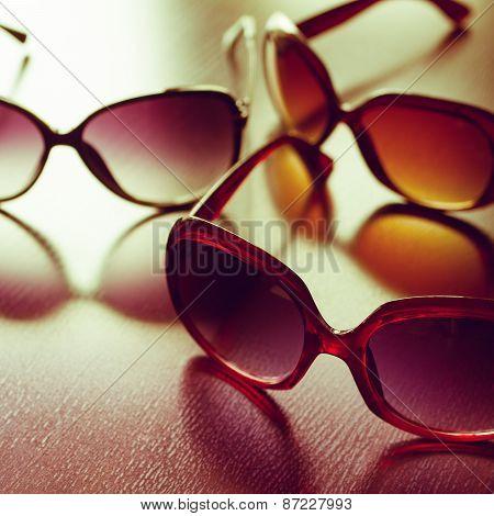 Fashionable Sunglasses. Vintage Stylized.