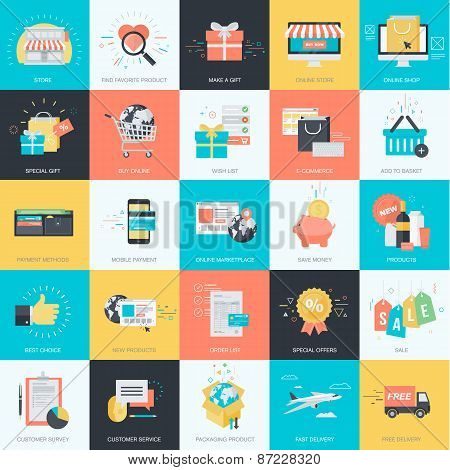 Set of flat design style concept icons for e-commerce